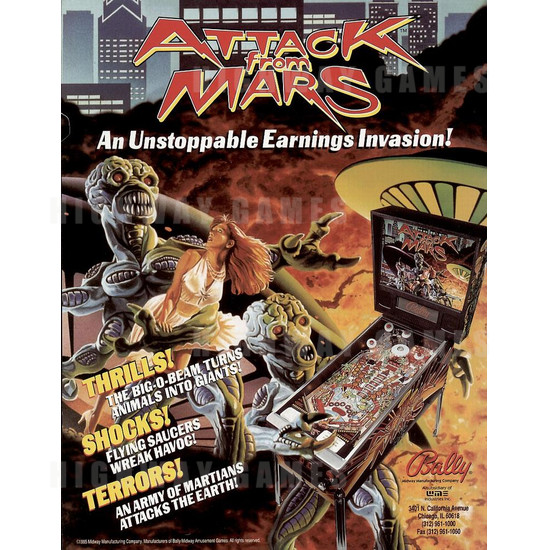 Attack from Mars Pinball (1995) - Brochure Front