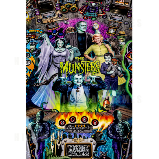 The Munsters Pinball Machine - Pro Model - The Munsters Family Artwork