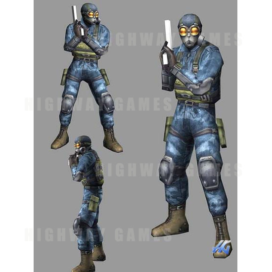 Time Crisis 3 SD (Japan Model) Arcade Machine - Foot Soldier Character Design